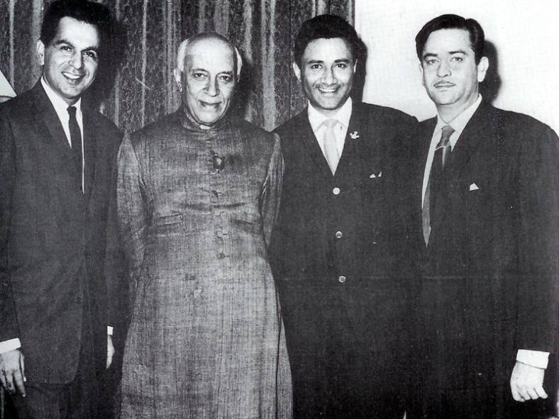 raj-kapoor-dilip-kumar-and-dev-anand-with-prime-minister-jawaharlal-nehru-1950s